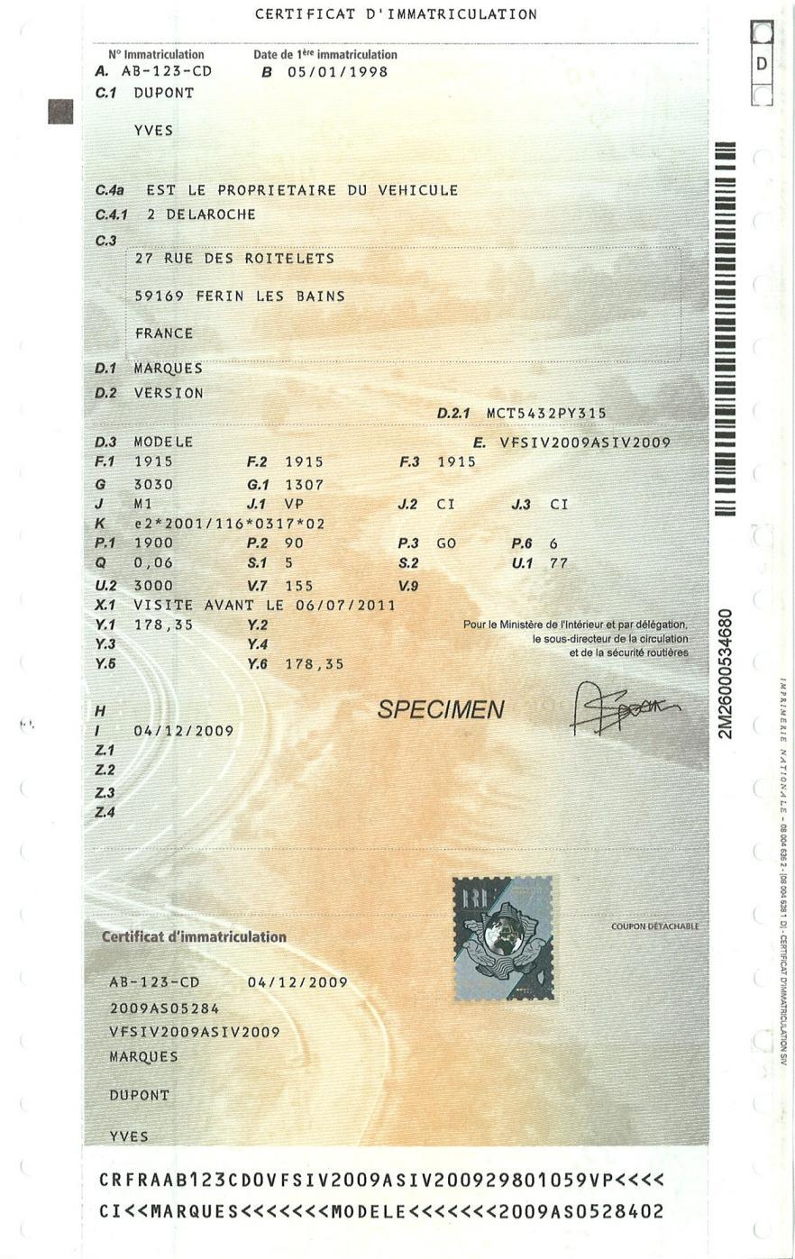 Lire Et Comprendre Sa Carte Grise Certificat D Immatriculation