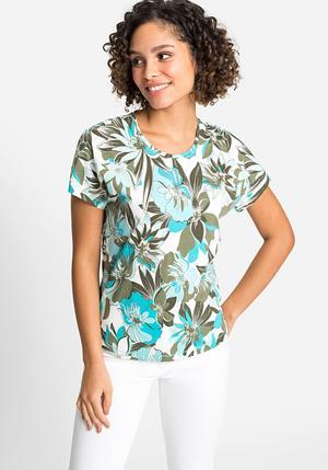 T-shirt Olsen tropical manches courtes coupe droite col rond