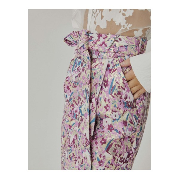 Jupe Sinequanone faux portefeuille, imprimée, tissu brocard, ceinture en tissu