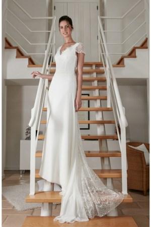 Robe de mariée en mousseline, dentelle de calais, fait en France, Style bohème, champêtre