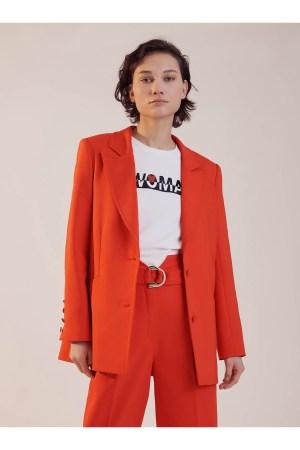Veste de tailleur Sinequanone 2 boutons, unie, poches Passsepoilées, boutons recouverts