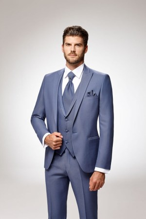 Costume modèle lecce collection adimo bleu - mariage chic, costume complet, tissus mini imprimé, lavalière et gilet opposé