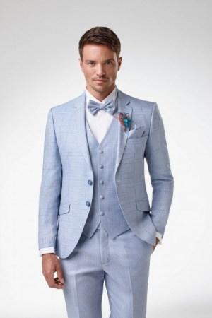 Costume total look - hannower bleu ciel collection adimo - 3 pièce avec chemise à boutons de manchettes, noeud papillon et lavalière style bohème