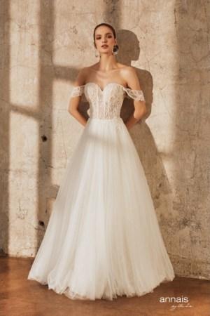 robe de mariée princia collection annais coupe princesse pailleté et fluide, tulle et dentelle, manches bateau