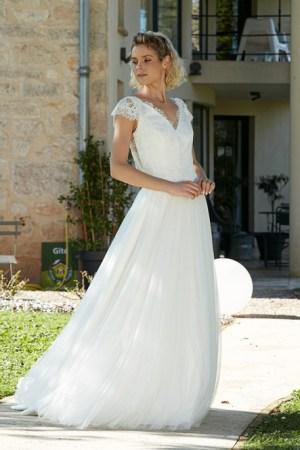robe de mariée rosilda collection bochet en tulle en pailleté et dentelle, style bohème chic
