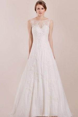 robe de mariée style romantique tulle en plumetis et dentelle perlée