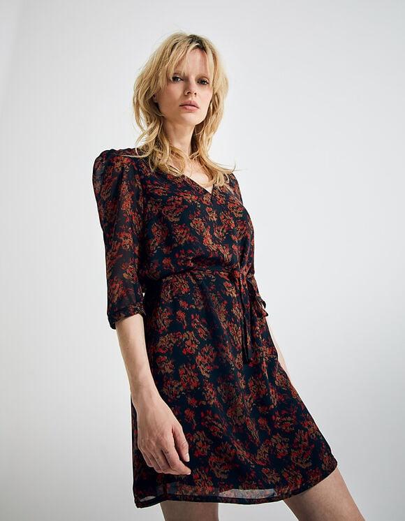 robe courte manches 3/4 fleuri sur fond noir coloris rouge
