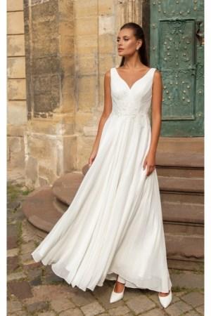 robe de mariée en mousseline et broderie style romantique créatif paris coloris blanc cassé