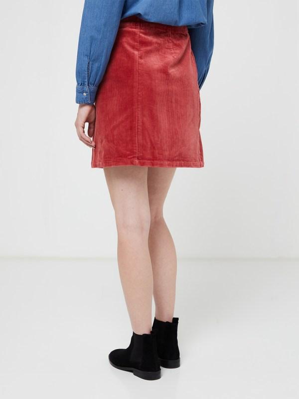 jupe c'est beau la vie velours cotelé coloris rose framboise
