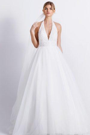 robe de mariée style romantiqye en tulle et dentelle dos nu