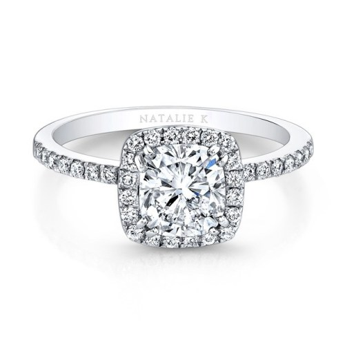 fm26921 18w front 1 1 - 18K WHITE GOLD SQUARE HALO ENGAGEMENT RING FM26921-18W