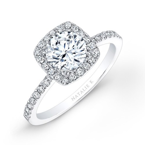 nk26921 18w - 18K WHITE GOLD SQUARE HALO ENGAGEMENT RING FM26921-18W