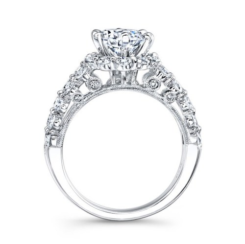 ITEM2A - 18K WHITE GOLD DOUBLE ROW SHANK DIAMOND ENGAGEMENT RING NK24384-18W