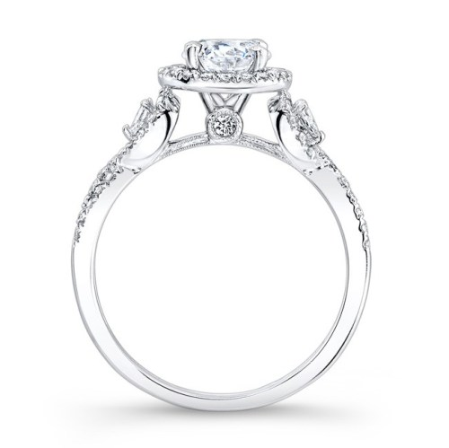 nk26281 w profile 1 - 18K WHITE GOLD HALO DIAMOND ENGAGEMENT RING WITH PEAR SHAPED SIDE STONES NK26281-W