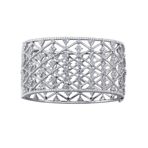 bangel - 18K WHITE GOLD PAVE BEZEL ROUND DIAMOND BANGLE