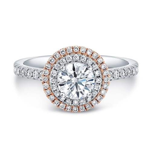 fm31335 18wr front - 18K WHITE AND ROSE GOLD WHITE DIAMOND DOUBLE HALO ENGAGEMENT RING