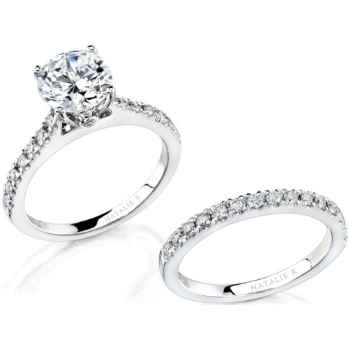 nk12113we w 1 3 - 14K WHITE GOLD PAVE PRONG ROUND DIAMOND BRIDAL SET NK12113WE-W