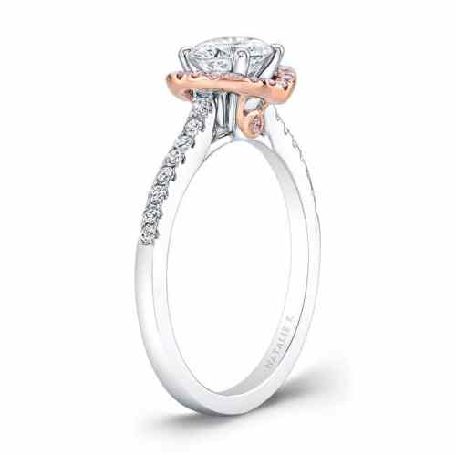nk28669pk 18wr side profile 1 - 18K WHITE AND ROSE GOLD PINK AND WHITE DIAMOND HALO ENGAGEMENT RING