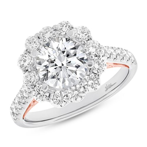 1.08CT 18K TWO TONE ROSE GOLD DIAMOND SEMI MOUNT RING FOR 3.00CT CENTER - 1.08CT 18K TWO-TONE ROSE GOLD DIAMOND SEMI-MOUNT RING FOR 3.00CT CENTER