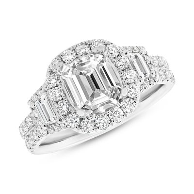 1.65CT 18K WHITE GOLD DIAMOND SEMI MOUNT RING FOR 8X8MM CENTER - 2.30CT 18K WHITE GOLD DIAMOND SEMI-MOUNT RING FOR 11X9MM CENTER