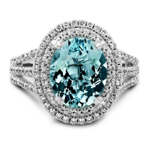 aq - 14K WHITE GOLD SPLIT SHANK MICRO PAVE AQUAMARINE DIAMOND RING