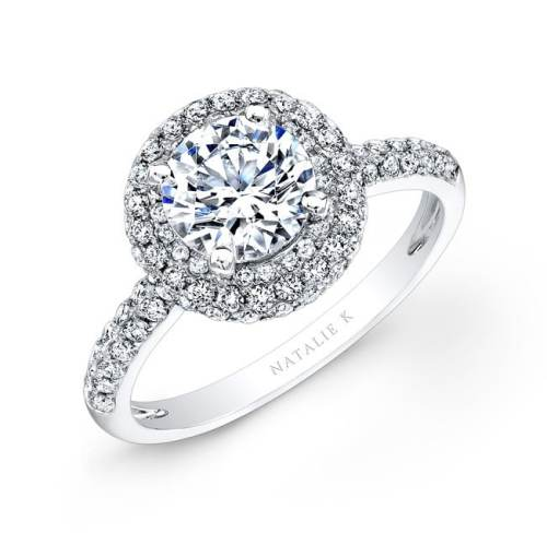 nk26327 w 3 - 18K WHITE GOLD PAVE HALO DIAMOND ENGAGEMENT RING