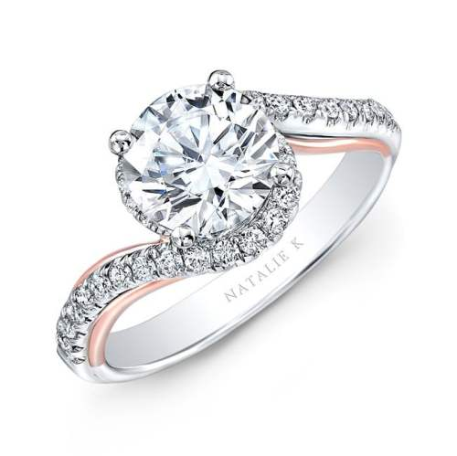 nk33178 18wr - 18K WHITE AND ROSE GOLD TWISTED DIAMOND ENGAGEMENT RING