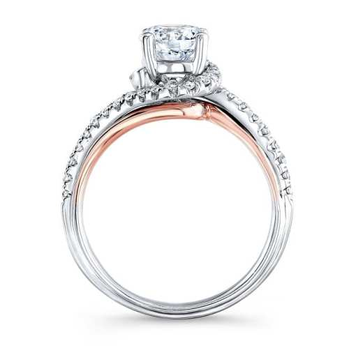 nk33178 18wr profile - 18K WHITE AND ROSE GOLD TWISTED DIAMOND ENGAGEMENT RING
