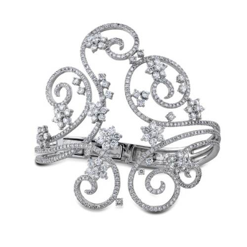 pave - 18K WHITE GOLD SWIRL PAVE PRONG LADIES DIAMOND BANGLE