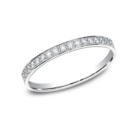 522800HFW P1 1 - ELEGANT WHITE  GOLD 2MM DIAMOND BAND 522800W