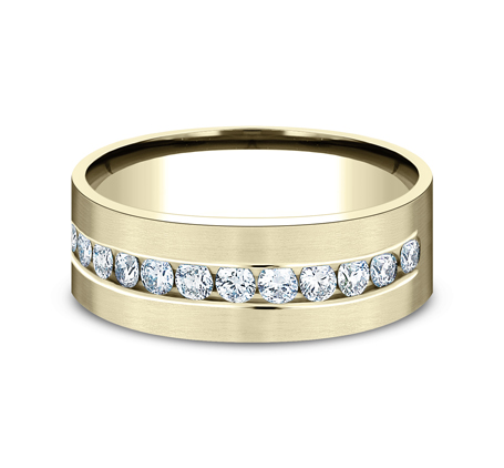 CF528531Y P3 - YELLOW GOLD 8MM CHANNEL SET DIAMOND BAND