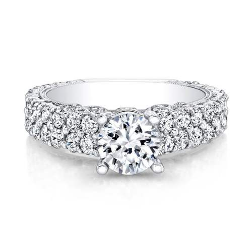 nk14739 w front 1 - 18K WHITE GOLD PAVE DIAMOND ENGAGEMENT RING