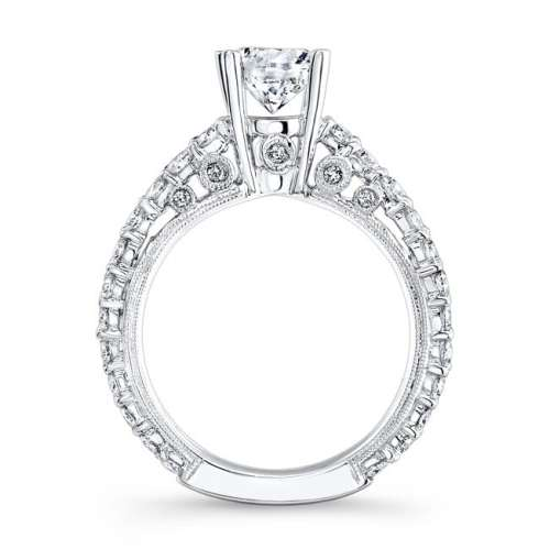 nk14739 w profile 1 - 18K WHITE GOLD PAVE DIAMOND ENGAGEMENT RING