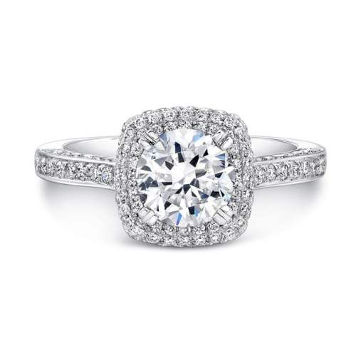 nk25727 w front 1 1 - 18K WHITE GOLD THICK PAVE HALO DIAMOND ENGAGEMENT RING