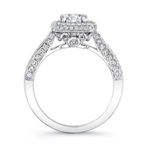 nk25727 w profile 1 1 - 18K WHITE GOLD THICK PAVE HALO DIAMOND ENGAGEMENT RING