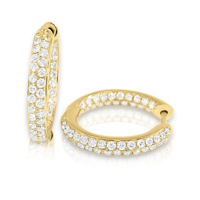 CER327 - BOVA SIGNATURE -14K YELLOW ROSE GOLD  DIAMOND 0.91CT HUGGY EARRING -Y CER327