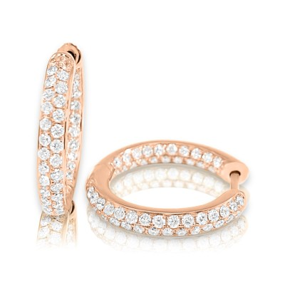 CER327 Rose - BOVA SIGNATURE -14K ROSE GOLD  DIAMOND 0.91CT HUGGY EARRING -R CER327