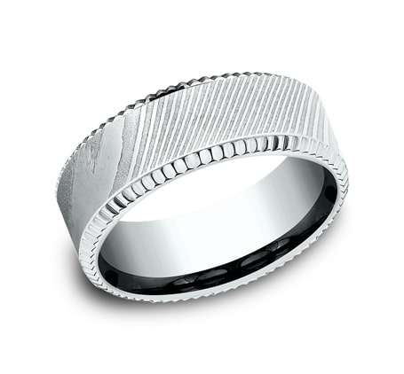 CF348527DSW P1 - WHITE GOLD 8MM  DESIGN BAND CF348527DSW