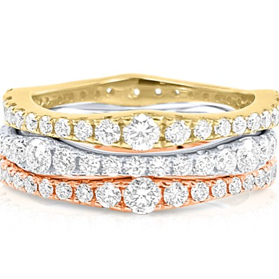 CR3444 - BOVA SIGNATURE  - 14K DIAMOND 0.72CT STACKABLE BANDS - CR3444