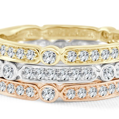 CR3726 - BOVA SIGNATURE  - 14K DIAMOND 0.25CT STACKABLE BANDS - CR3726