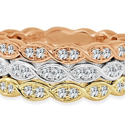 CR3728 - BOVA SIGNATURE  - 14K DIAMOND 0.31CT STACKABLE BANDS - CR3728