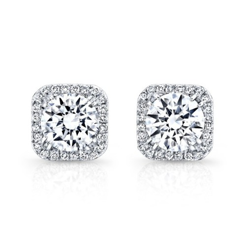 fm27621 18w front - 18K WHITE GOLD SQUARE DIAMOND HALO STUD EARRINGS FM27621-18W