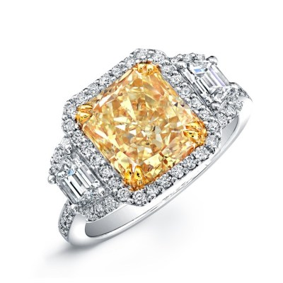 14K WHITE AND YELLOW GOLD RADIANT FANCY YELLOW DIAMOND ENGAGEMENT RING NK24257FY WY - 14K WHITE AND YELLOW GOLD RADIANT FANCY YELLOW DIAMOND ENGAGEMENT RING NK24257FY-WY