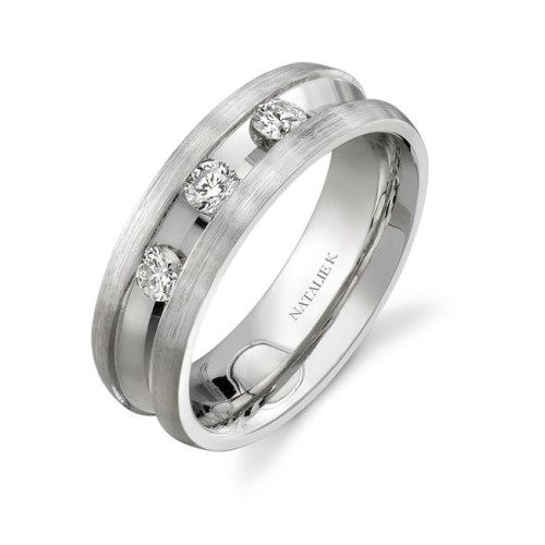 14K WHITE GOLD DEEP CHANNEL THREE STONE DIAMOND MENS BAND NK13854 W - 14K WHITE GOLD DEEP CHANNEL THREE STONE DIAMOND MEN'S BAND NK13854-W