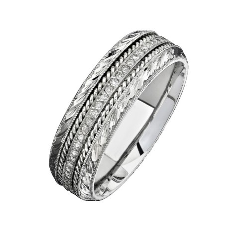 14K WHITE GOLD DETAILED PAVE ROUND DIAMOND MENS BAND NK15468 W - 14K WHITE GOLD DETAILED PAVE ROUND DIAMOND MEN'S BAND NK15468-W