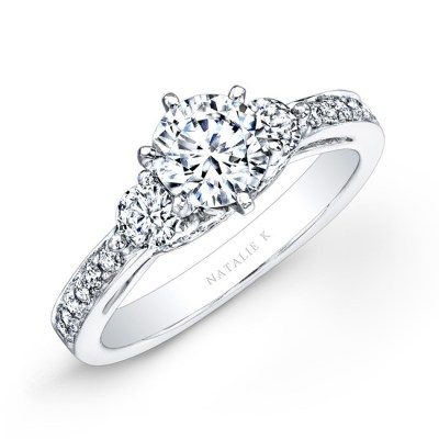 14K WHITE GOLD PAVE PRONG THREE STONE DIAMOND ENGAGEMENT RING NK25238ENG W - 14K WHITE GOLD PAVE PRONG THREE STONE DIAMOND ENGAGEMENT RING NK25238ENG-W