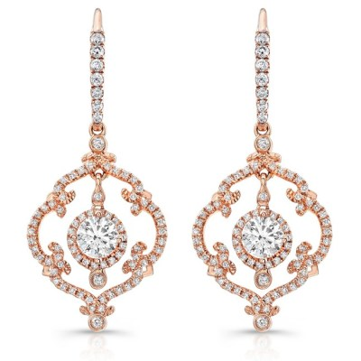18K ROSE GOLD SCROLLWORK VINTAGEINSPIRED DIAMOND DROP EARRINGS FM28992 18R - 18K ROSE GOLD SCROLLWORK VINTAGEINSPIRED DIAMOND DROP EARRINGS FM28992-18R