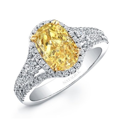 18K WHITE AND YELLOW GOLD FANCY YELLOW OVAL DIAMOND ENGAGEMENT RING NK20886FY WY - 18K WHITE AND YELLOW GOLD FANCY YELLOW OVAL DIAMOND ENGAGEMENT RING NK20886FY-WY