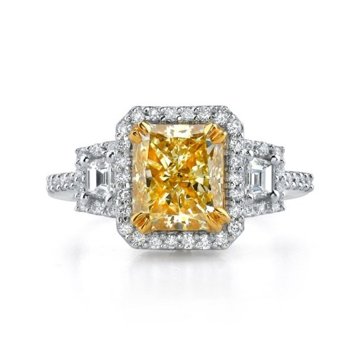 18K WHITE AND YELLOW GOLD RADIANT FANCY YELLOW DIAMOND RING NK17674FY - 18K WHITE AND YELLOW GOLD RADIANT FANCY YELLOW DIAMOND RING NK17674FY