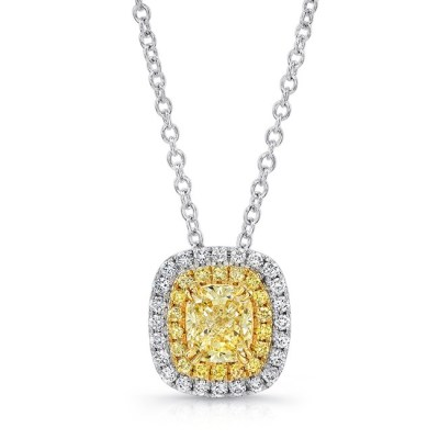 18K WHITE AND YELLOW GOLD YELLOW DIAMOND CENTER AND HALO PENDANT FM30885FY 18WY - 18K WHITE AND YELLOW GOLD YELLOW DIAMOND CENTER AND HALO PENDANT FM30885FY-18WY